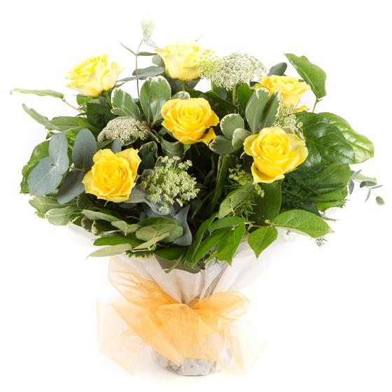 Six long stemmed yellow roses tracys florist staines mightylinksfo